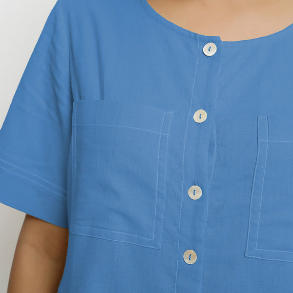 Front Detail of a Model wearing Powder Blue Vegetable Dyed Romper