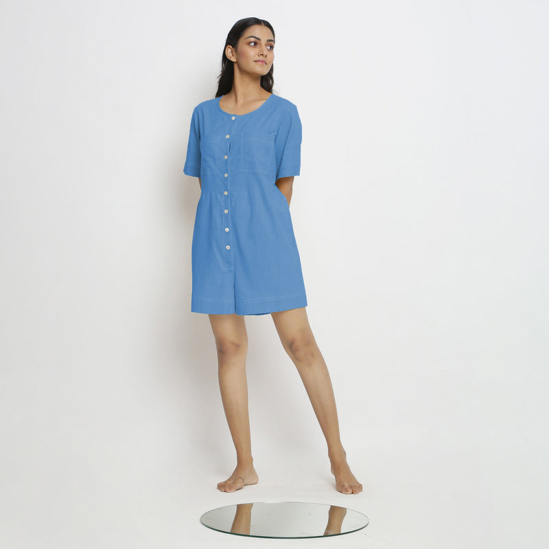 Front View of a Model wearing Powder Blue Vegetable Dyed Romper