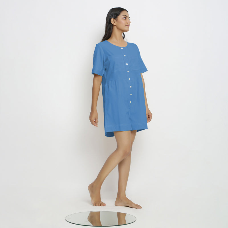 Right View of a Model wearing Powder Blue Vegetable Dyed Romper