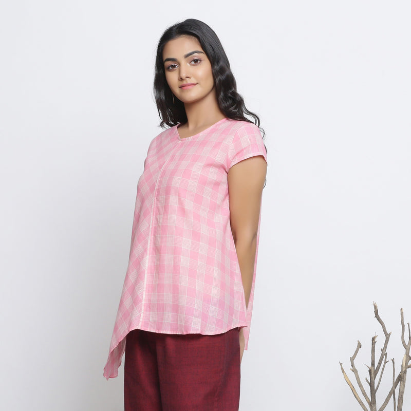 Left View of a Model wearing Powder Pink Checkered Cotton Paneled Top
