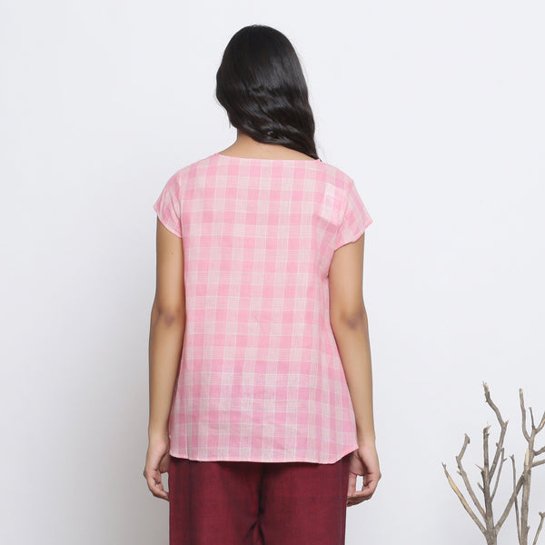 Back View of a Model wearing Powder Pink Checkered Cotton Paneled Top