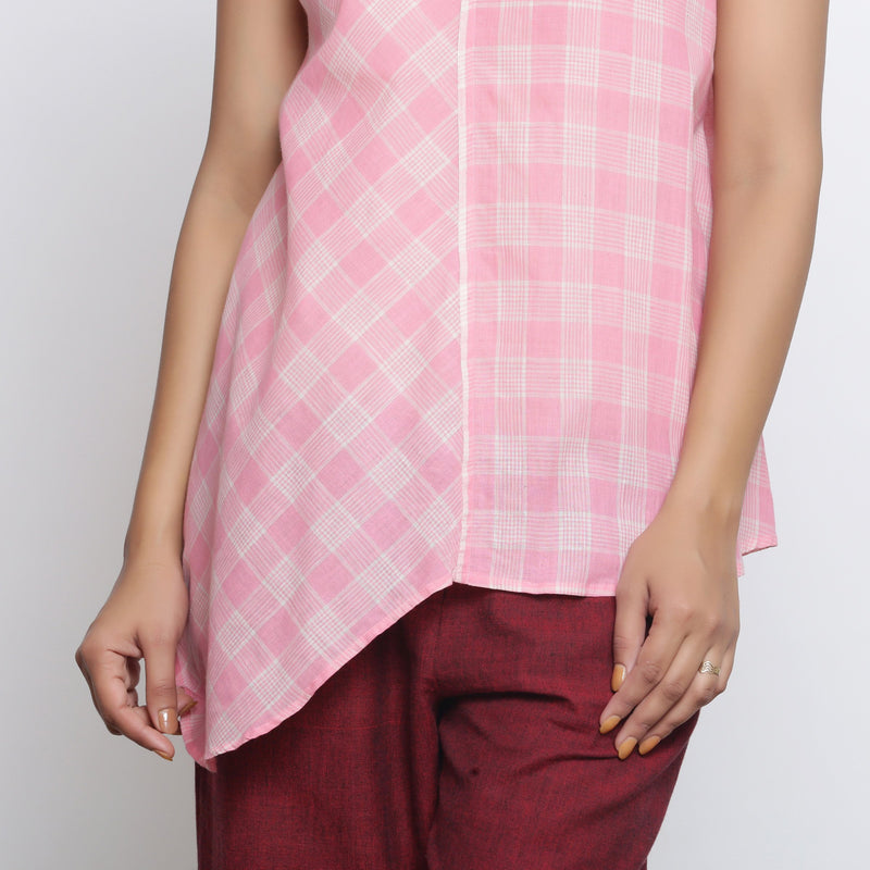 Front  Detail of a Model wearing Powder Pink Checkered Cotton Paneled Top