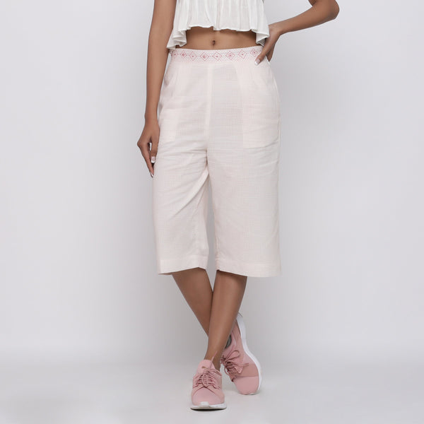 Front View of a Model wearing Powder Pink Mid Rise Straight Culottes