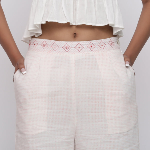 Front Detail of a Model wearing Powder Pink Hand Block Print Culottes