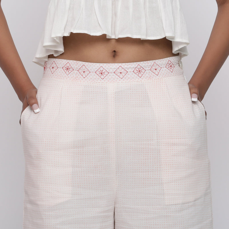 Front Detail of a Model wearing Powder Pink Mid Rise Straight Culottes