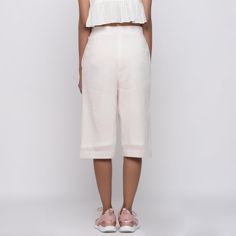 Back View of a Model wearing Powder Pink Mid Rise Straight Culottes