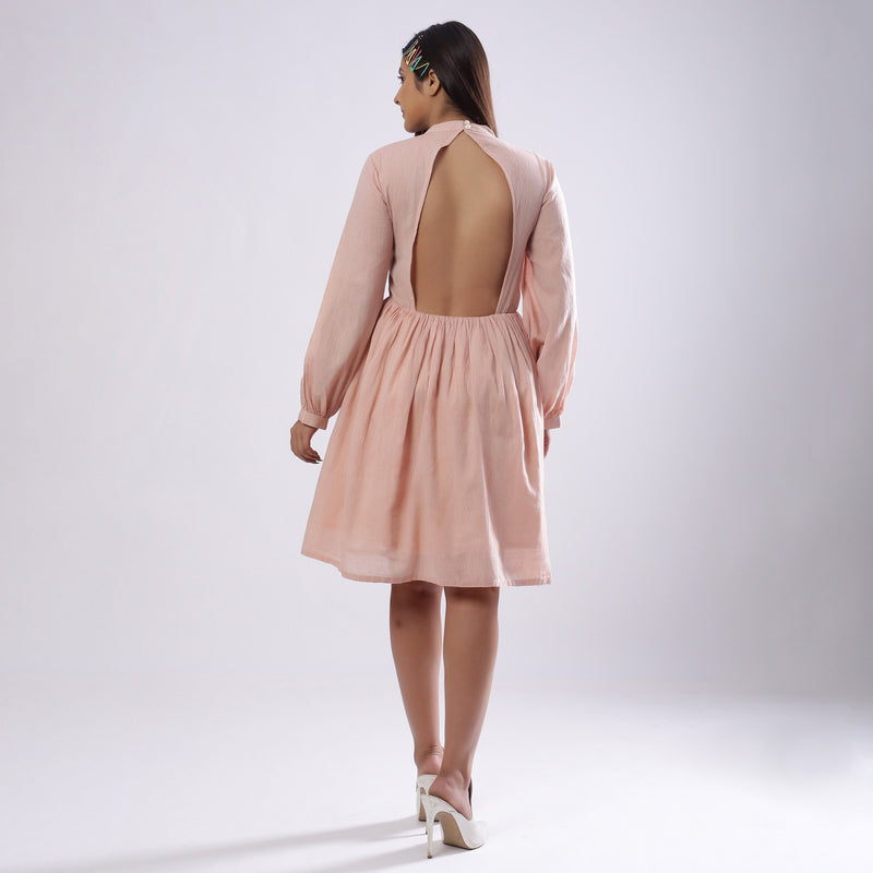 Back View of a Model wearing Powder Pink Backless Gathered Dress