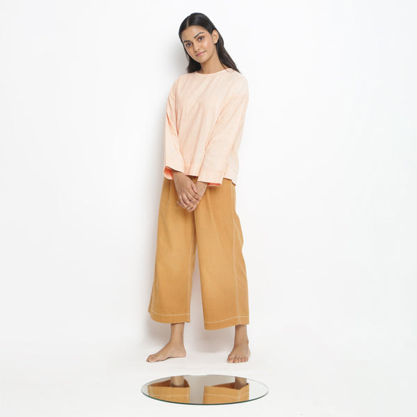 Powder Pink Straight Top and Rust Pant Set