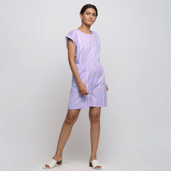 Purple Hand Tie Dyed Cotton Romper