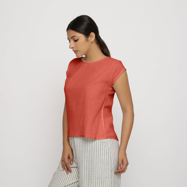 Red Cotton Slub Straight Top