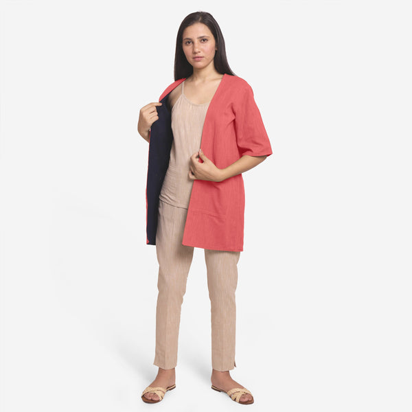 Front View of a Model wearing Red Reversible Cotton Flax Front Open Overlay