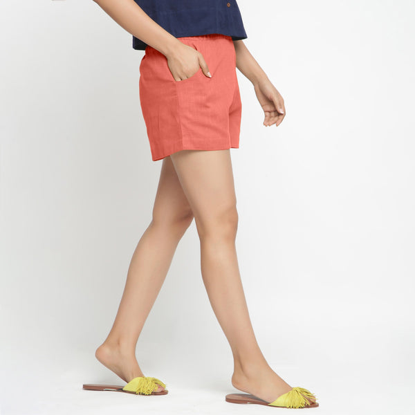 Right View of a Model wearing Red Solid Cotton Short Shorts