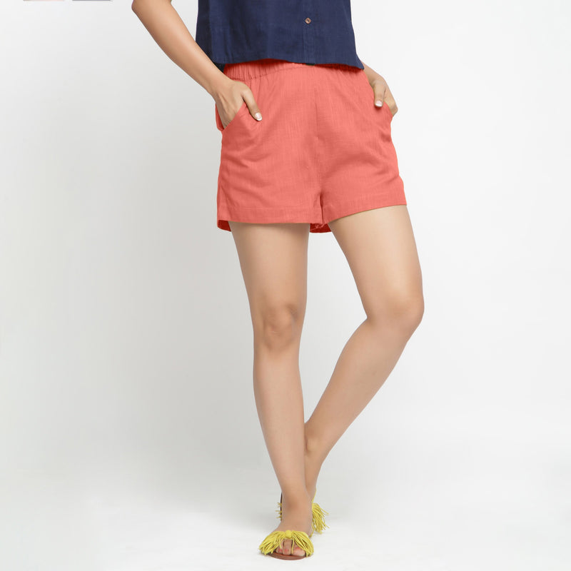 Front View of a Model wearing Red Solid Cotton Short Shorts