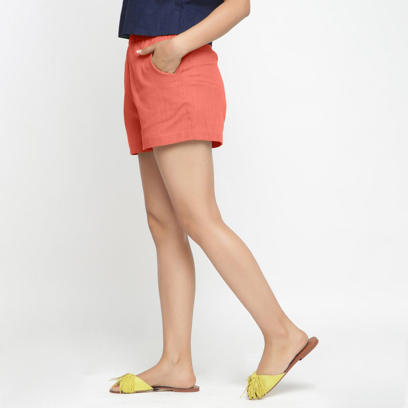Left View of a Model wearing Red Solid Cotton Short Shorts
