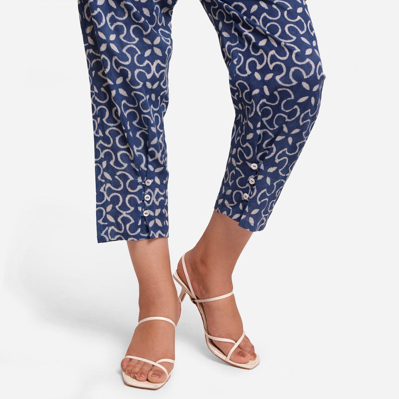 Close View of a Model wearing Indigo Dabu Block Print Pegged Pant