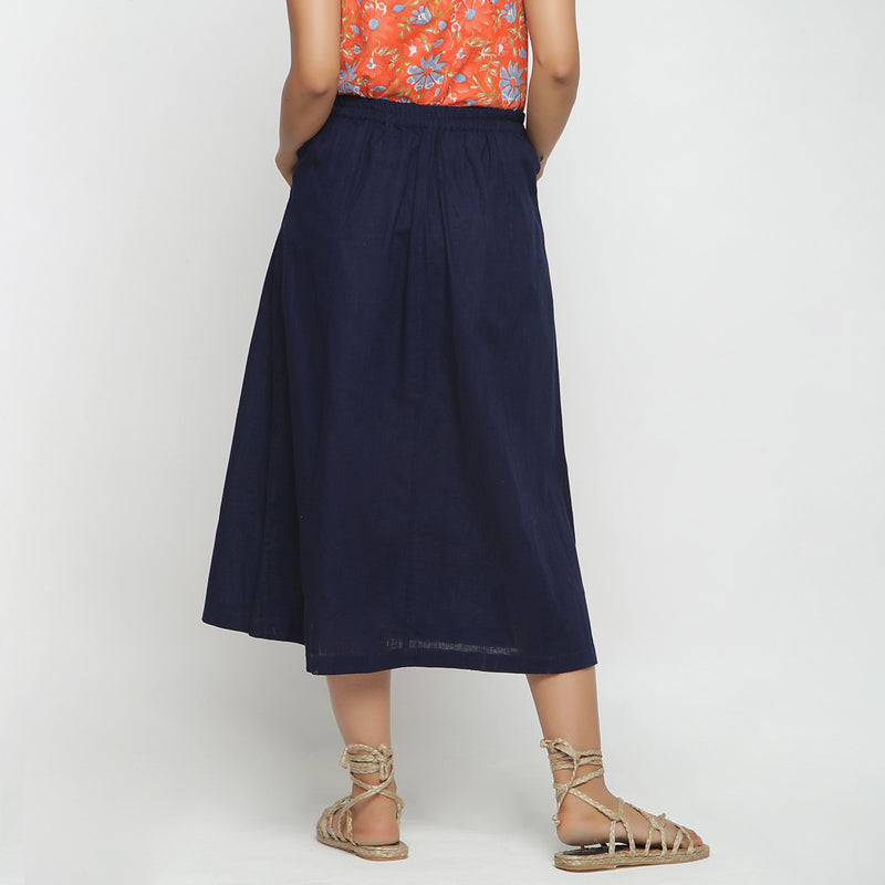 Back View of a Model wearing Navy Blue Cotton Flax A-Line Skirt