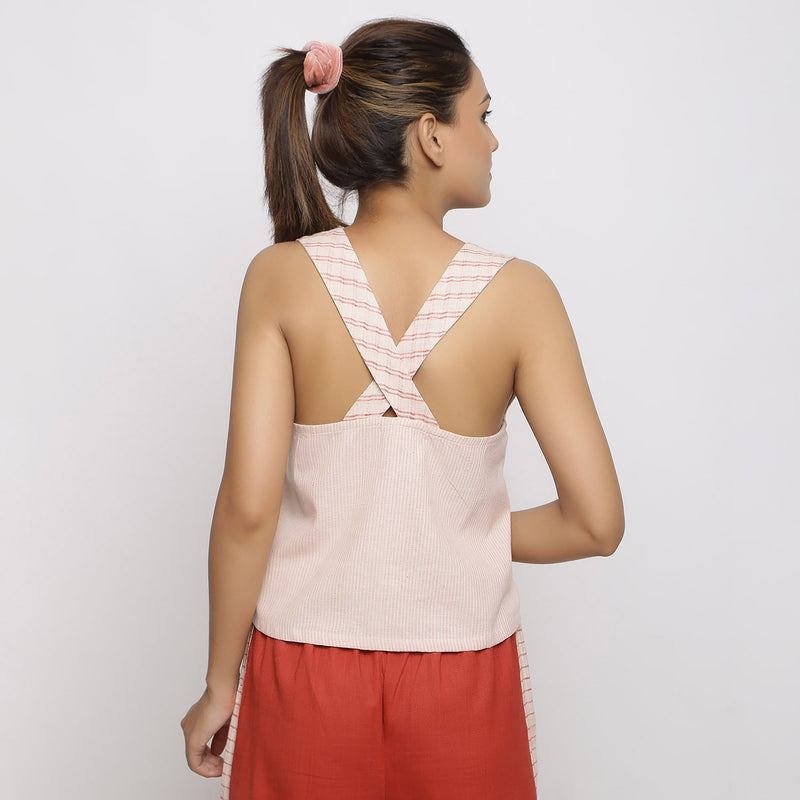 Back View of a Model wearing Vegetable Dyed Pink Deep Neck Top
