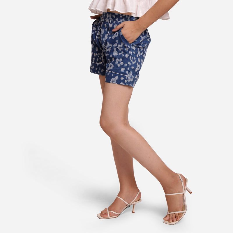 Left View of a Model wearing Natural Dyed Mid Rise Dabu Printed Shorts