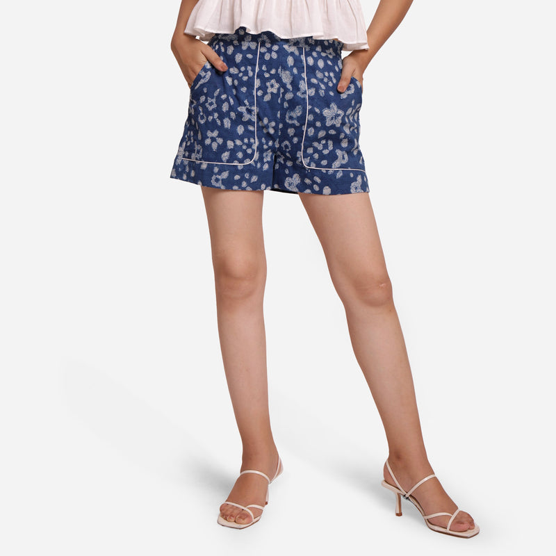Front View of a Model wearing Natural Dyed Mid Rise Dabu Printed Shorts