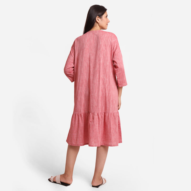 Back View of a Model wearing Pink Yarn Dyed Cotton Tier Dress