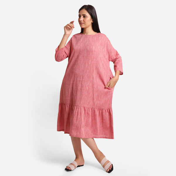 Front View of a Model wearing Pink Yarn Dyed Cotton Tier Dress