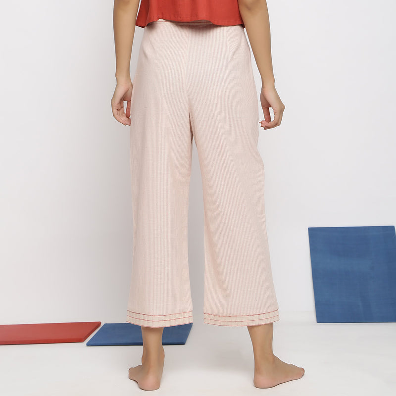 Back View of a Model wearing Vegetable Dyed Wide Legged Culottes
