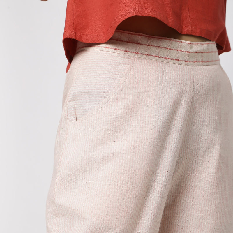 Front Detail of a Model wearing Vegetable Dyed Wide Legged Culottes