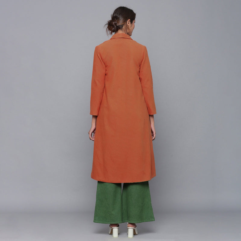 Back View of a Model wearing Reversible Convertible Corduroy Button Down Jacket Dress