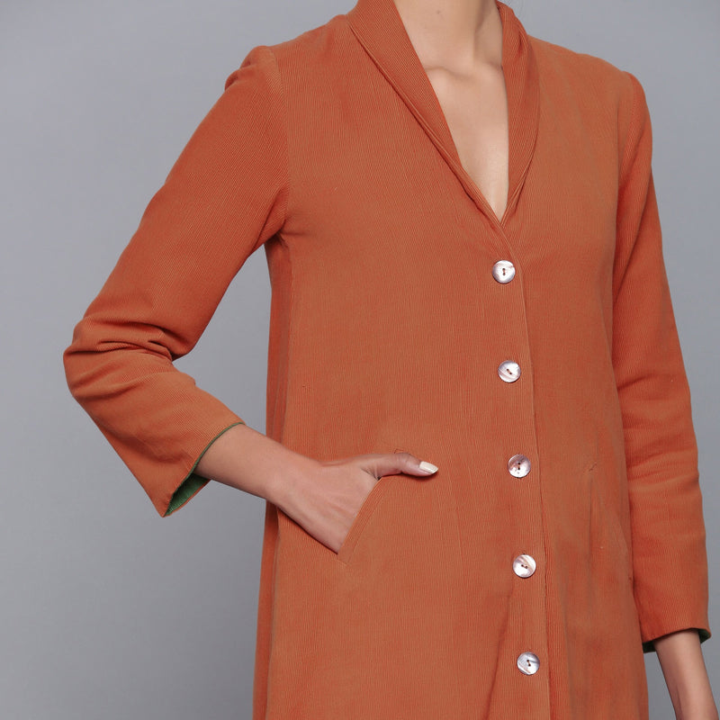 Front Detail of a Model wearing Reversible Convertible Corduroy Button Down Jacket Dress