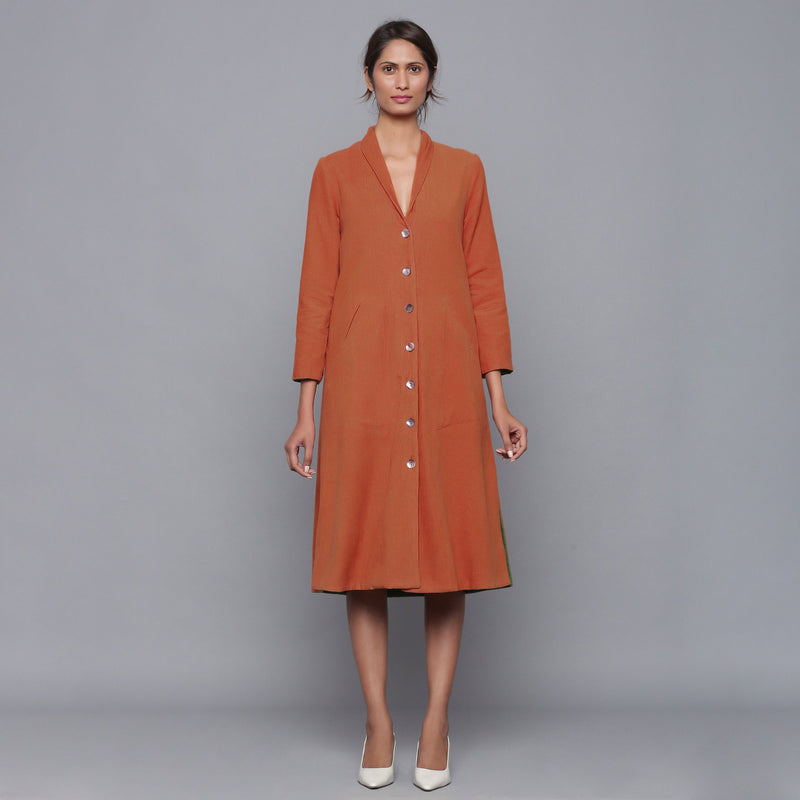 Front View of a Model wearing Reversible Convertible Corduroy Button Down Jacket Dress