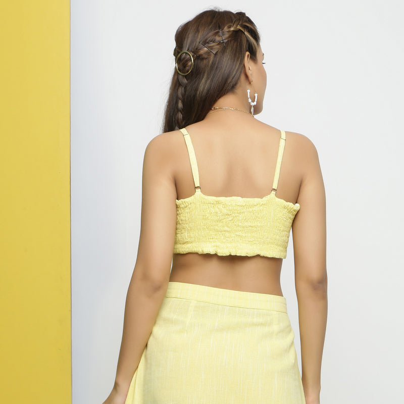 Back View of a Model wearing Reversible Cotton Lace Strappy Tube Top