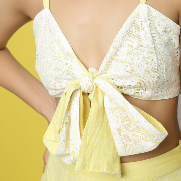 Front Detail of a Model wearing Reversible Cotton Lace Strappy Tube Top