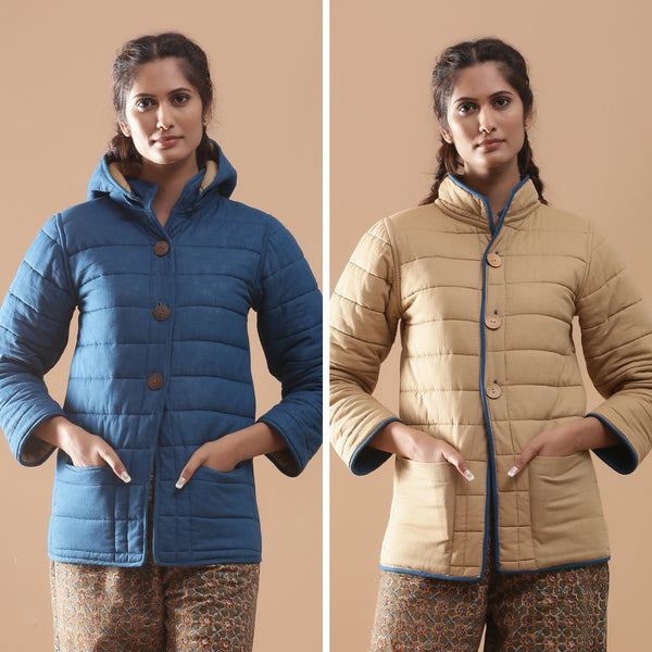 Front View of a Model wearing Reversible Quilted Cotton Detachable Hoodie Jacket