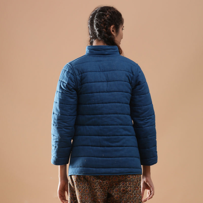 Back View of a Model wearing Reversible Detachable Hoodie Quilted Cotton Jacket