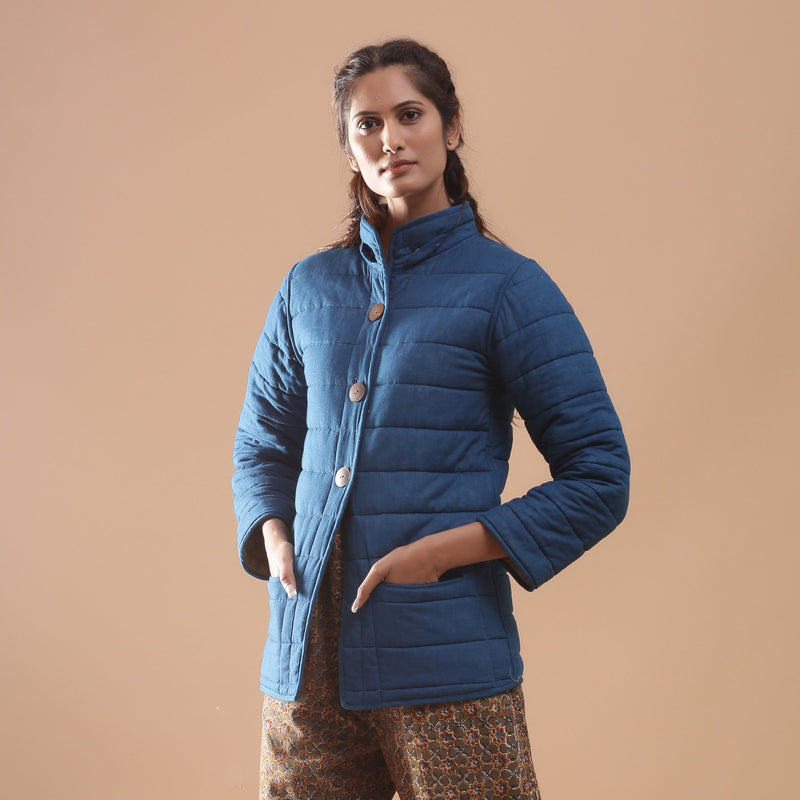 Left View of a Model wearing Reversible Detachable Hoodie Quilted Cotton Jacket