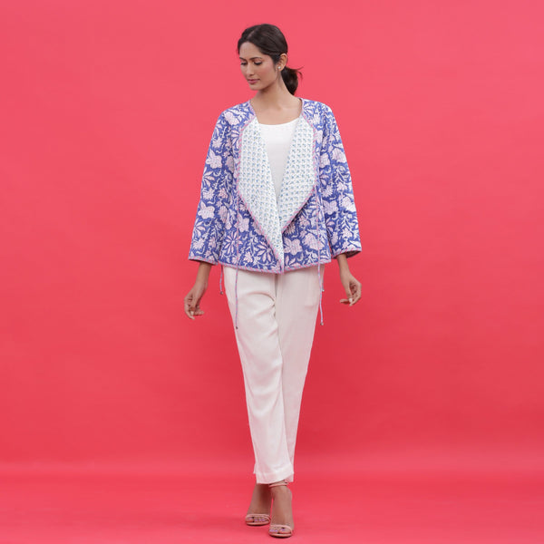 Front View of a Model wearing Reversible Block Printed Quilted Cotton Wrap Jacket
