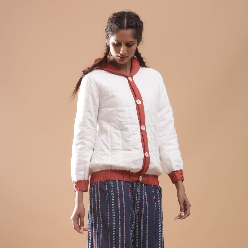 Right View of a Model wearing Reversible Quilted Cotton Bomber Jacket