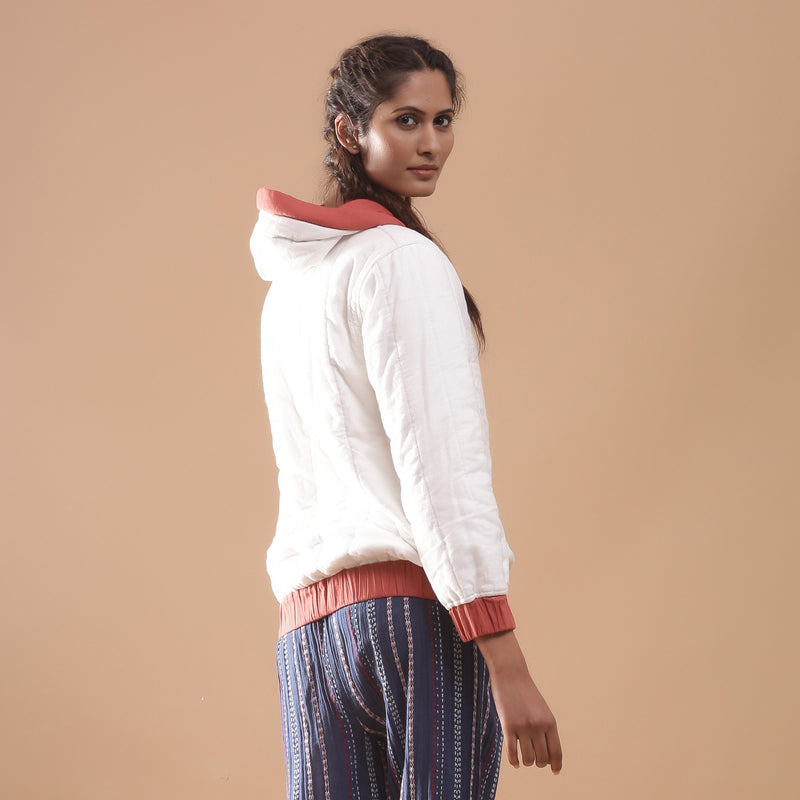 Back View of a Model wearing Reversible Quilted Cotton Bomber Jacket