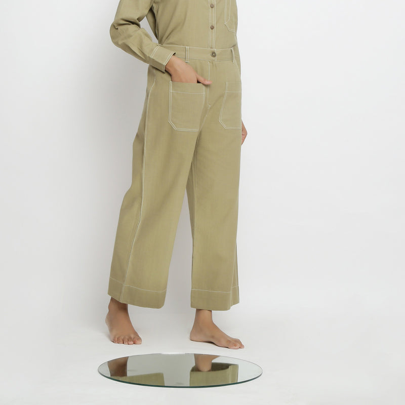Right View of a Model wearing Khaki Green Patch Pocket Straight Fit Pant