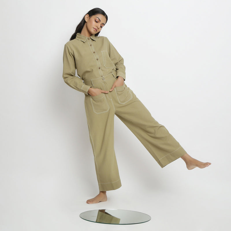 Front View of a Model wearing Vegetable Dyed Khaki Green Top and Pant Set
