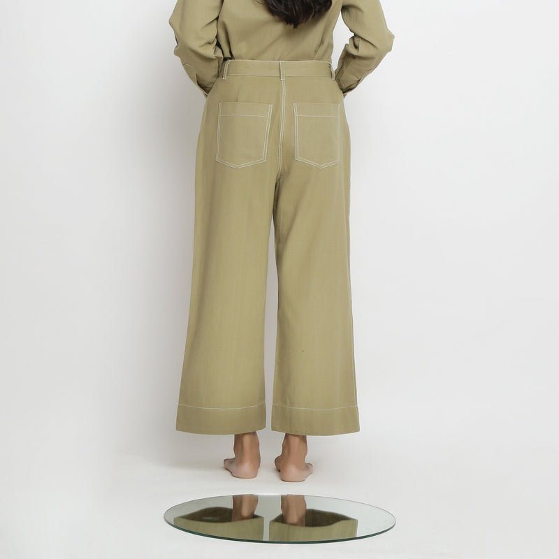Back View of a Model wearing Khaki Green Patch Pocket Straight Fit Pant