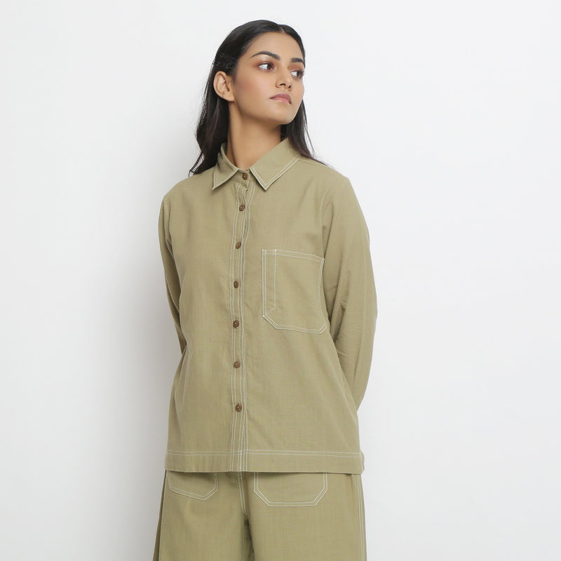 Front View of a Model wearing Vegetable Dyed Handpsun Button-Down Top