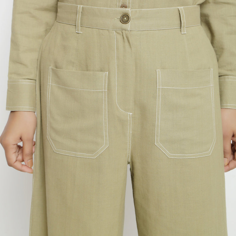 Front Detail of a Model wearing Khaki Green Patch Pocket Straight Fit Pant