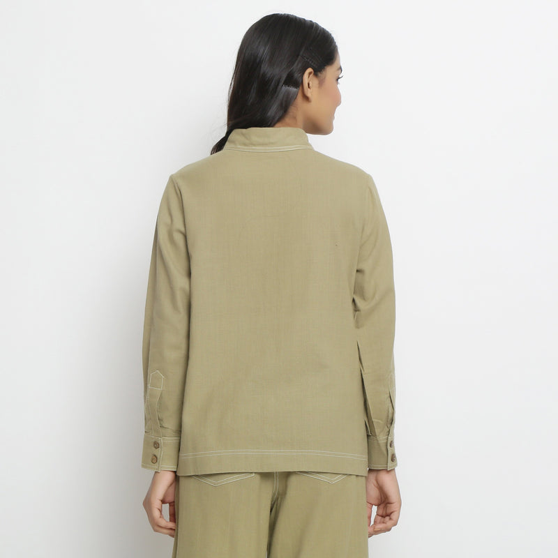 Back View of a Model wearing  Vegetable Dyed Handpsun Button-Down Top