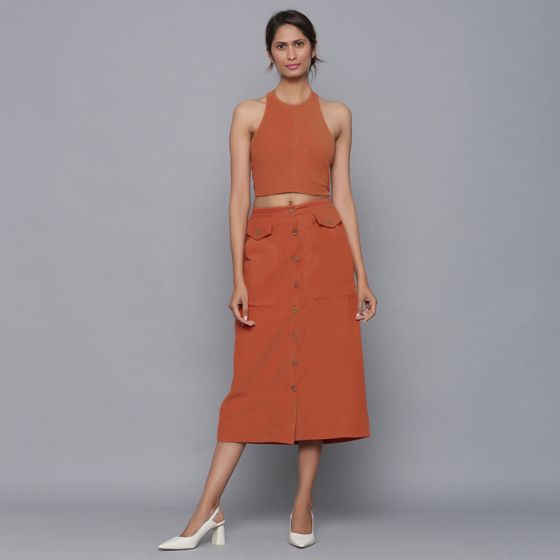 Front View of a Model wearing Rust Corduroy Halter Top and Skirt Set