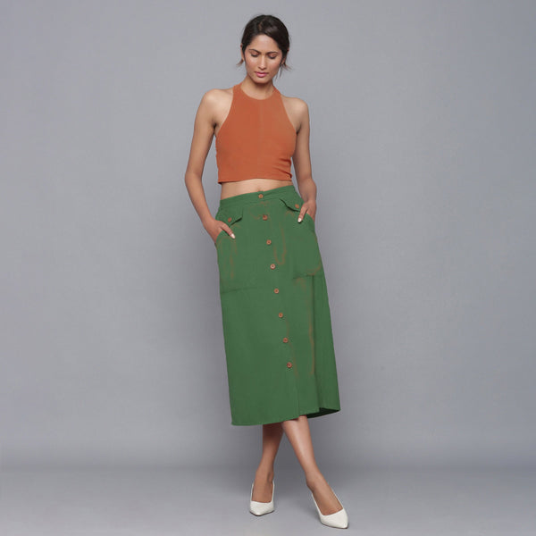 Rust Halter Top and Forest Green Skirt Set
