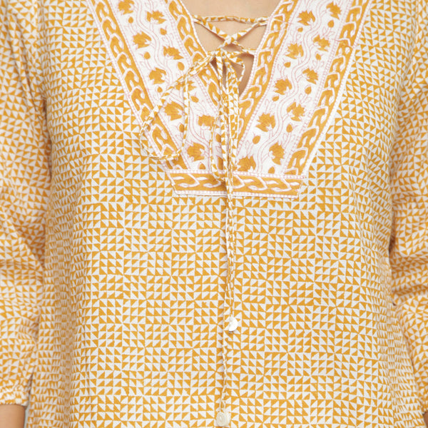 Front Detail of a Model wearing Mustard Hand Block Printed Straight Top