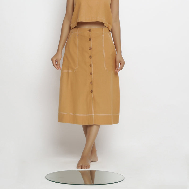 Front View of a Model wearing Rustic Vegetable Dyed Button-Down Skirt