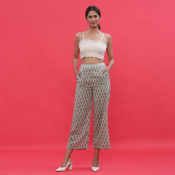 Front View of a Model wearing Sage Green Block Printed Straight Pants