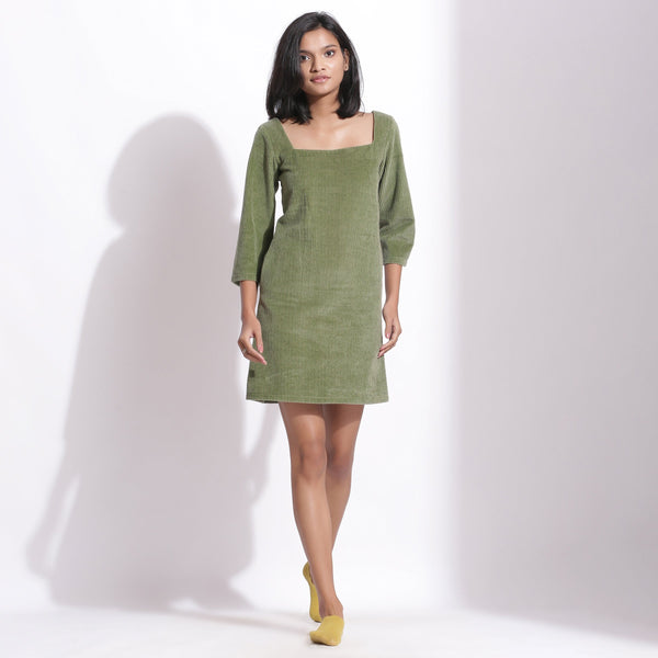 Front View of a Model wearing Sage Green Cotton Corduroy Square Neck Dress
